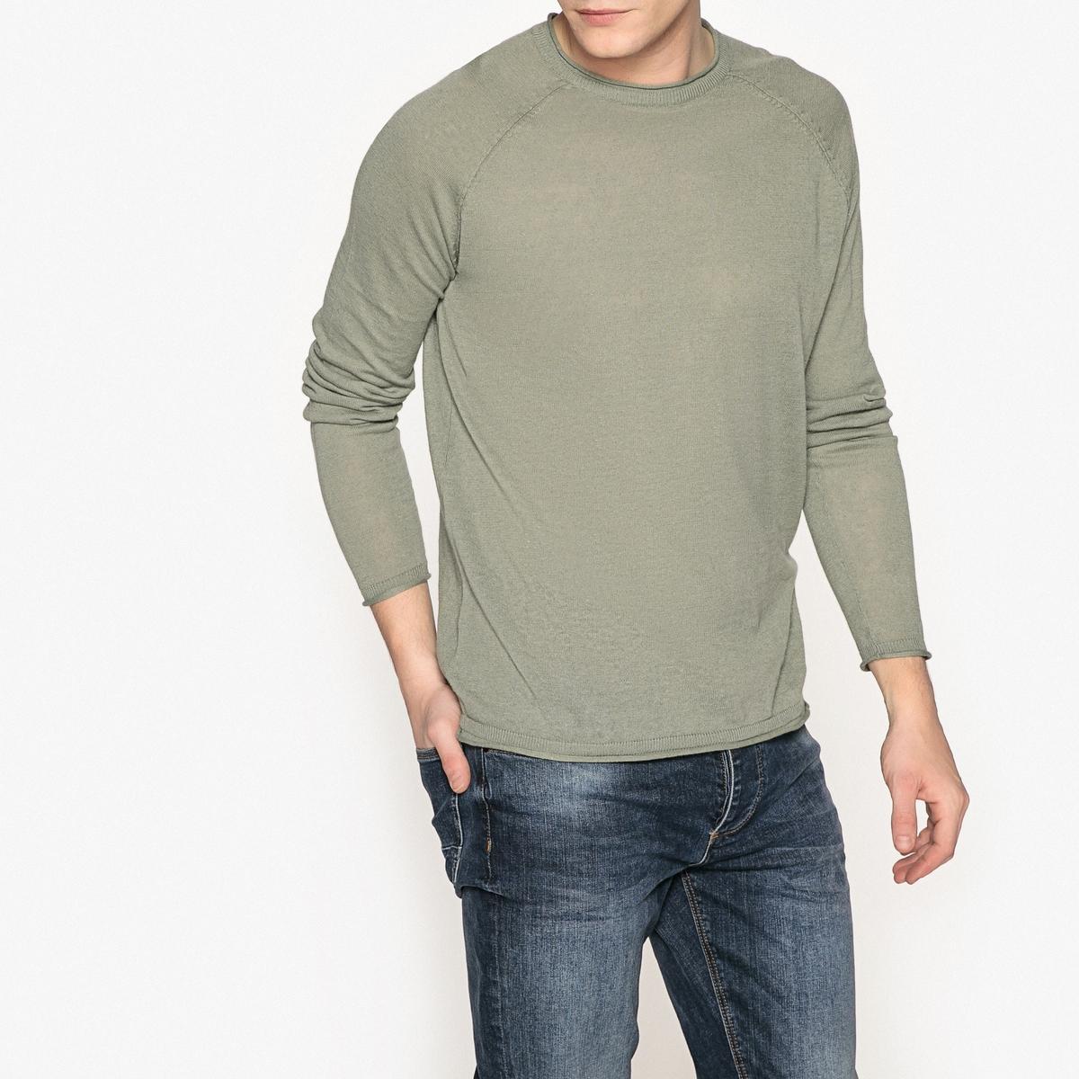 Camisola de gola redonda, mangas raglan, em algodão e linho