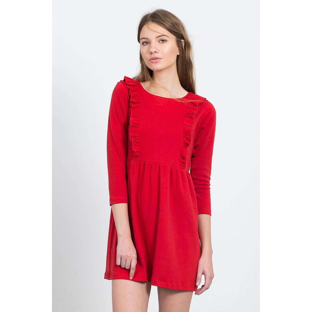Короткое расклешённое платье SYDNEY BLACK DRESSКороткое платье с рукавами 3/4 и воланами, COMPANIA FANTASTICA. Элегантный расширяющийся к низу покрой, рукава 3/4 и красивая отделка воланами  на груди. Мелкие складки на поясе. Состав и описание :Материал : 100% хлопокМарка : COMPANIA FANTASTICA.УходМашинная стирка при 30 °С с вещами схожих цветов  Стирать и гладить с изнаночной стороны<br><br>Цвет: красный<br>Размер: L