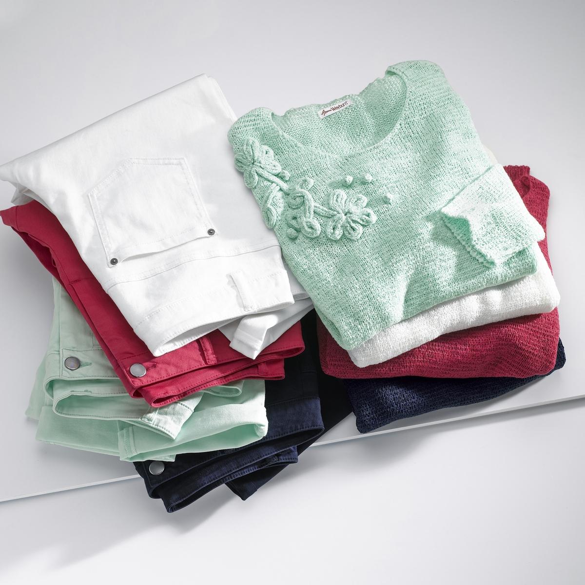 Imagen secundaria de producto de Jersey con cuello redondo y punto canalé - Anne weyburn
