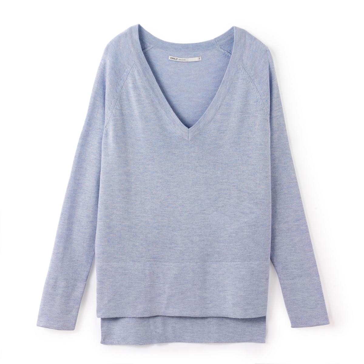 Пуловер объемный с длинными рукавамиМатериал : 35% вискозы, 15% полиамида, 50% полиэстера Длина рукава : длинные рукава  Форма воротника : V-образный вырез  Покрой пуловера : стандартная  Рисунок : однотонная модель<br><br>Цвет: небесно-голубой,розовый<br>Размер: S