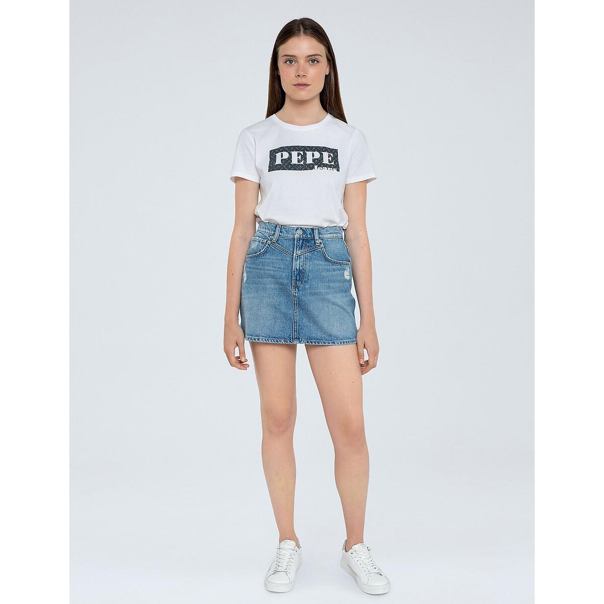 Юбка LaRedoute Короткая из джинсовой ткани S синий