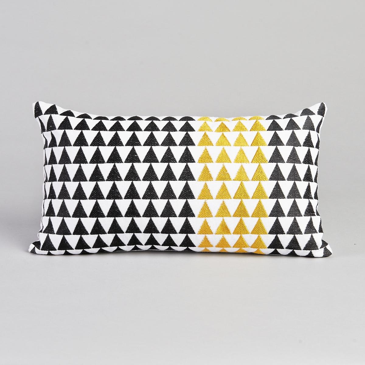 Подушка прямоугольная KainitЧерные и желтые вышитые треугольники на хлопковой ткани светло-бежевого цвета .Описание :- 100% хлопка.- Наполнитель из полиэстера.Размер :- 25 x 45 см<br><br>Цвет: белый/ черный/ желтый