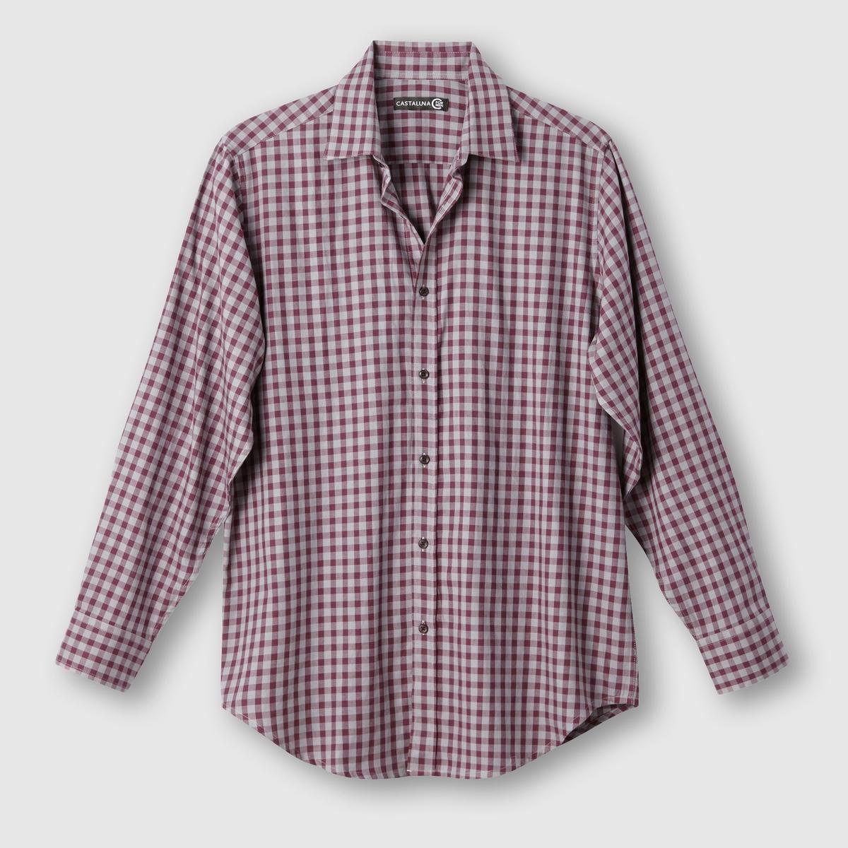 Рубашка в клеткуРубашка в клетку. Длинные рукава. 2 складки сзади для большего комфорта. Рисунок в клетку крашеной нитью,  100% хлопка. Длина 85 см .<br><br>Цвет: бордовый/ серый<br>Размер: 53/54