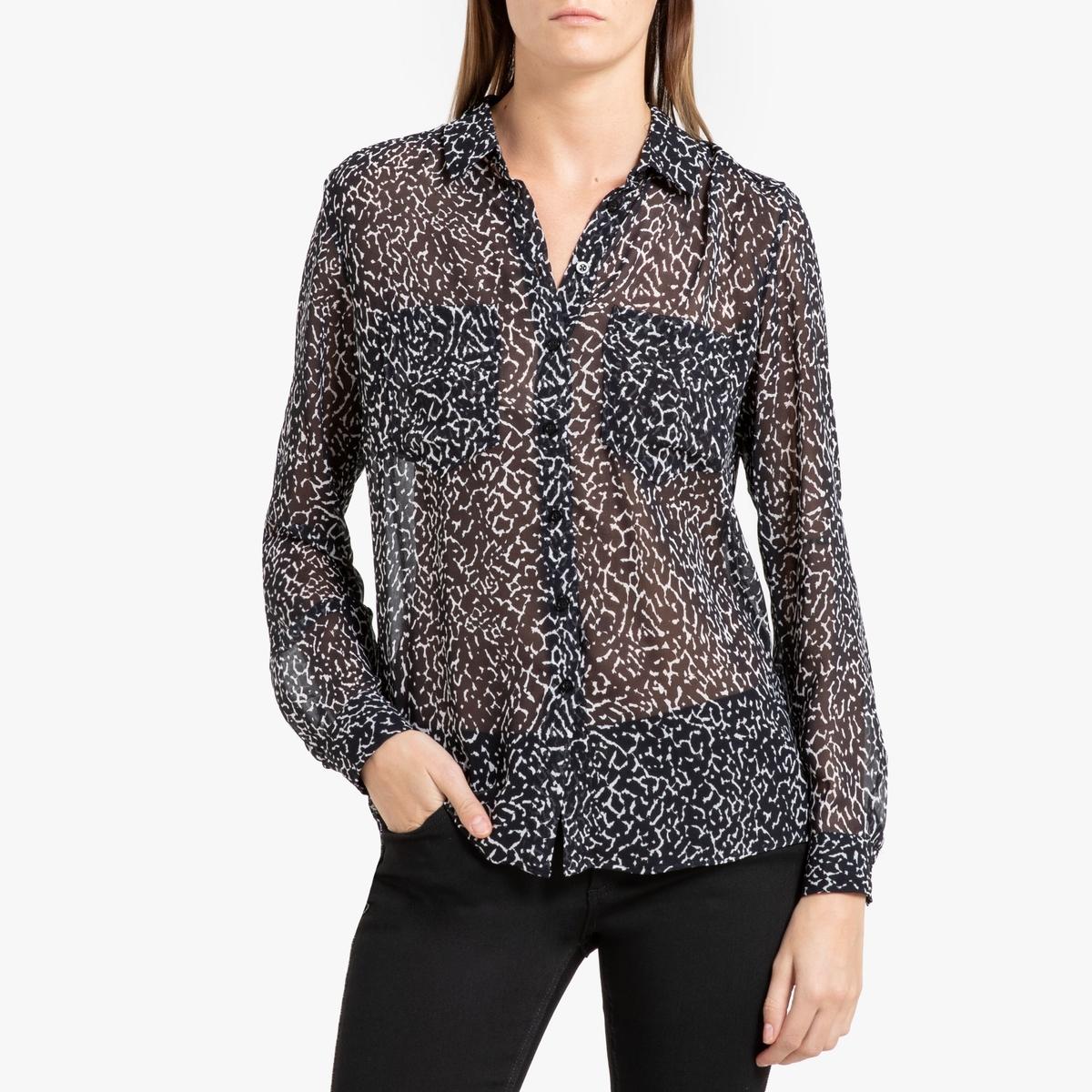 Рубашка La Redoute С рисунком и длинными рукавами 42 (FR) - 48 (RUS) черный цена 2017