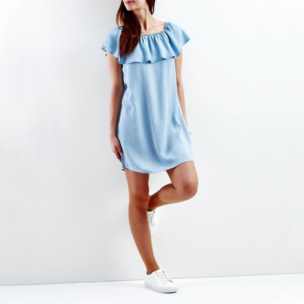 Платье короткое однотонное, без рукавовОписание:Детали •  Форма : МИНИ •  Укороченная модель •  Без рукавов    •  Без воротникаСостав и уход •  100% лиоцелл  •  Следуйте рекомендациям по уходу, указанным на этикетке изделия<br><br>Цвет: синий деним<br>Размер: S