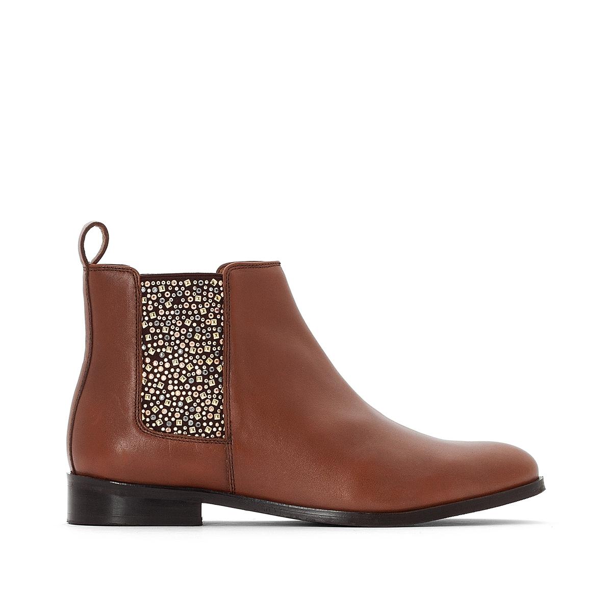 Ботинки-челси кожаные с эластичной вставкой со стразами