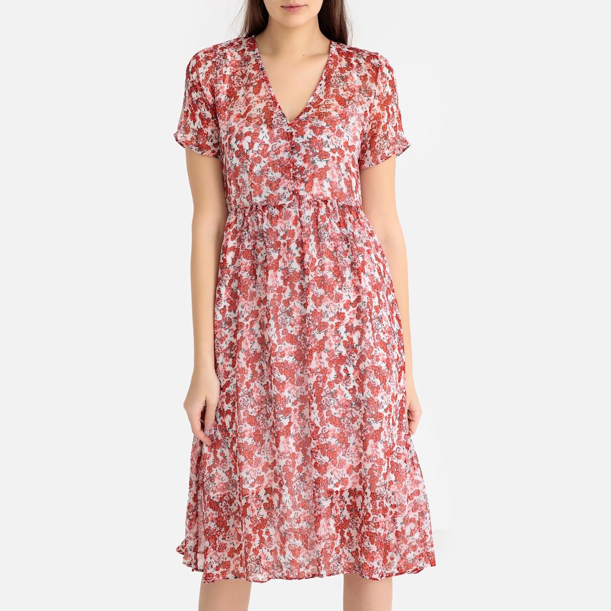цена Платье La Redoute С цветочным рисунком и короткими рукавами XS красный онлайн в 2017 году