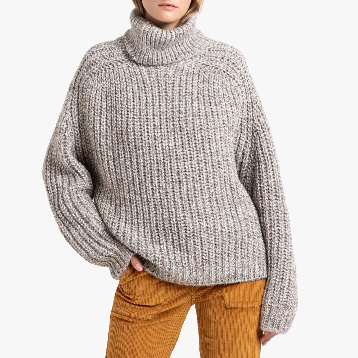 Пуловер La Redoute С отворачивающимся воротником из трикотажа AZURE 2(M) бежевый цена и фото
