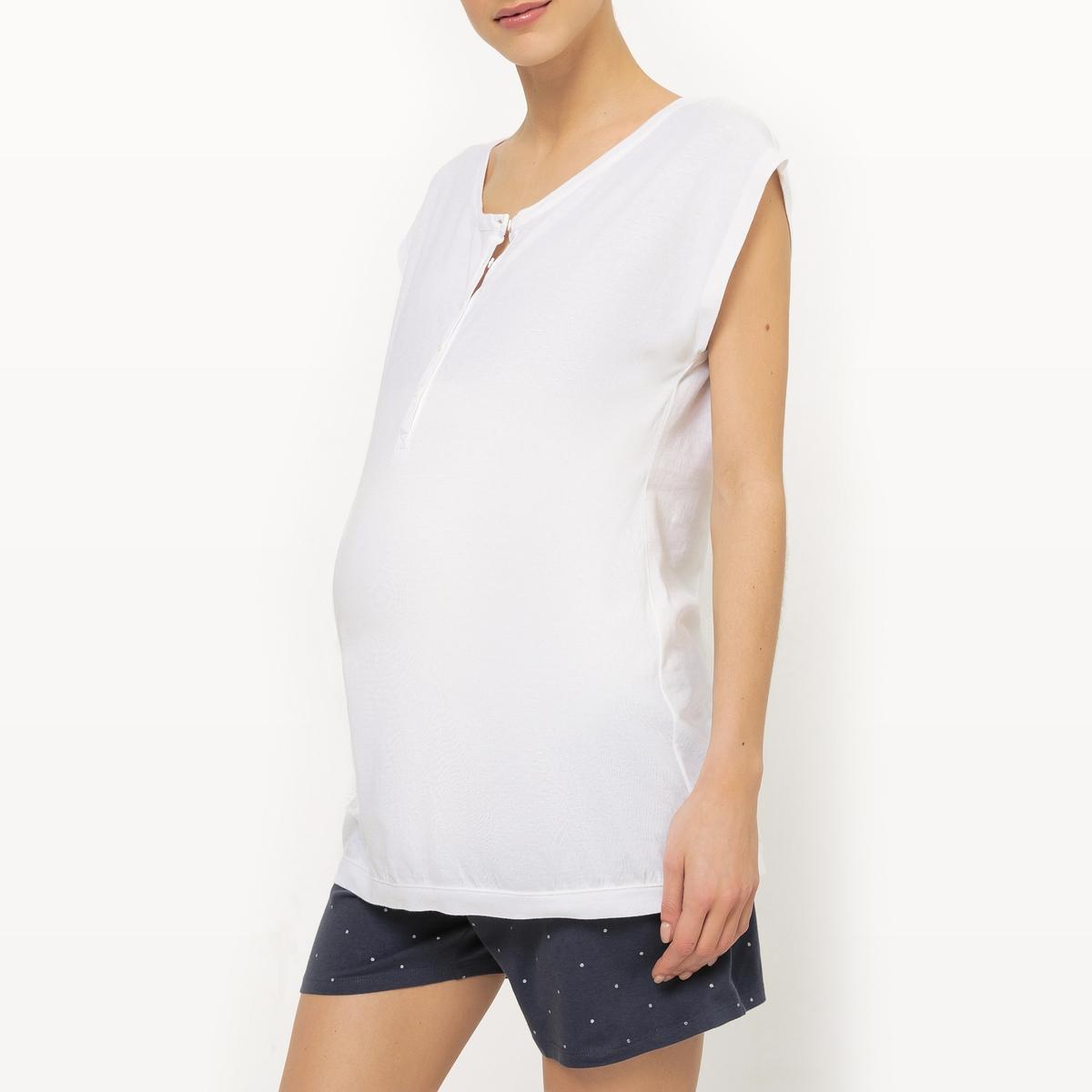 Пижама с шортами для периода беременности и грудного вскармливания из 2 предметовПижама с шортами для периода беременности и грудного вскармливания из 2 предметов COCOON. Однотонный топ с короткими рукавами. Круглый вырез с планкой застежки на пуговицы для облегчения грудного вскармливания. Шорты с рисунком в блестящий горошек с завязками под животом. Низкий поддерживающий пояс.                           Состав и описание         Материал           95% хлопка, 5% эластана          Марка           COCOON                  Уход         Стирать, сушить и гладить с изнаночной стороны         Машинная стирка при 30 °C с вещами схожих цветов         Гладить при низкой температуре         Машинная сушка запрещена<br><br>Цвет: белый/ синий<br>Размер: 38/40 (FR) - 44/46 (RUS)