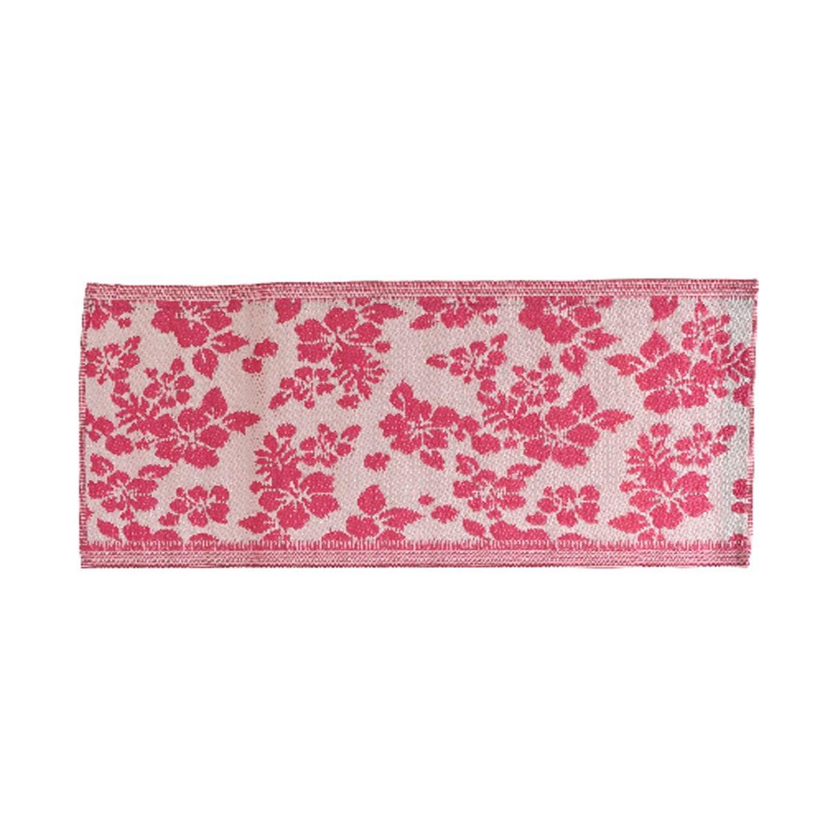 Tapis rectangulaire en polypropylène 140 x 70 cm motifs fleurs Rose - Jardideco