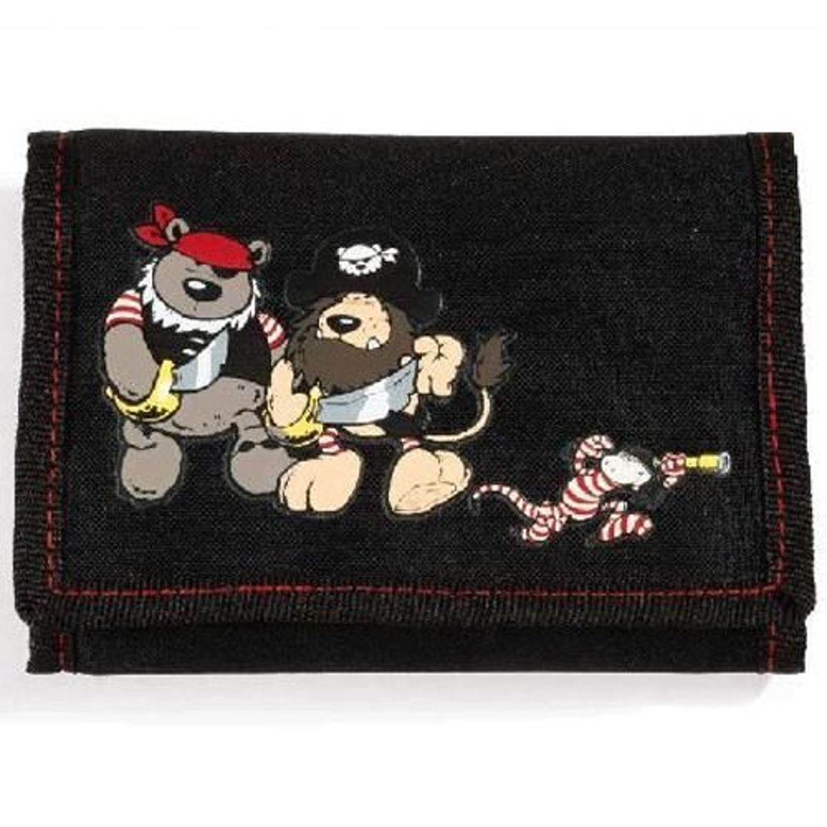 Petit portefeuille en toile noir les Pirates par Nici