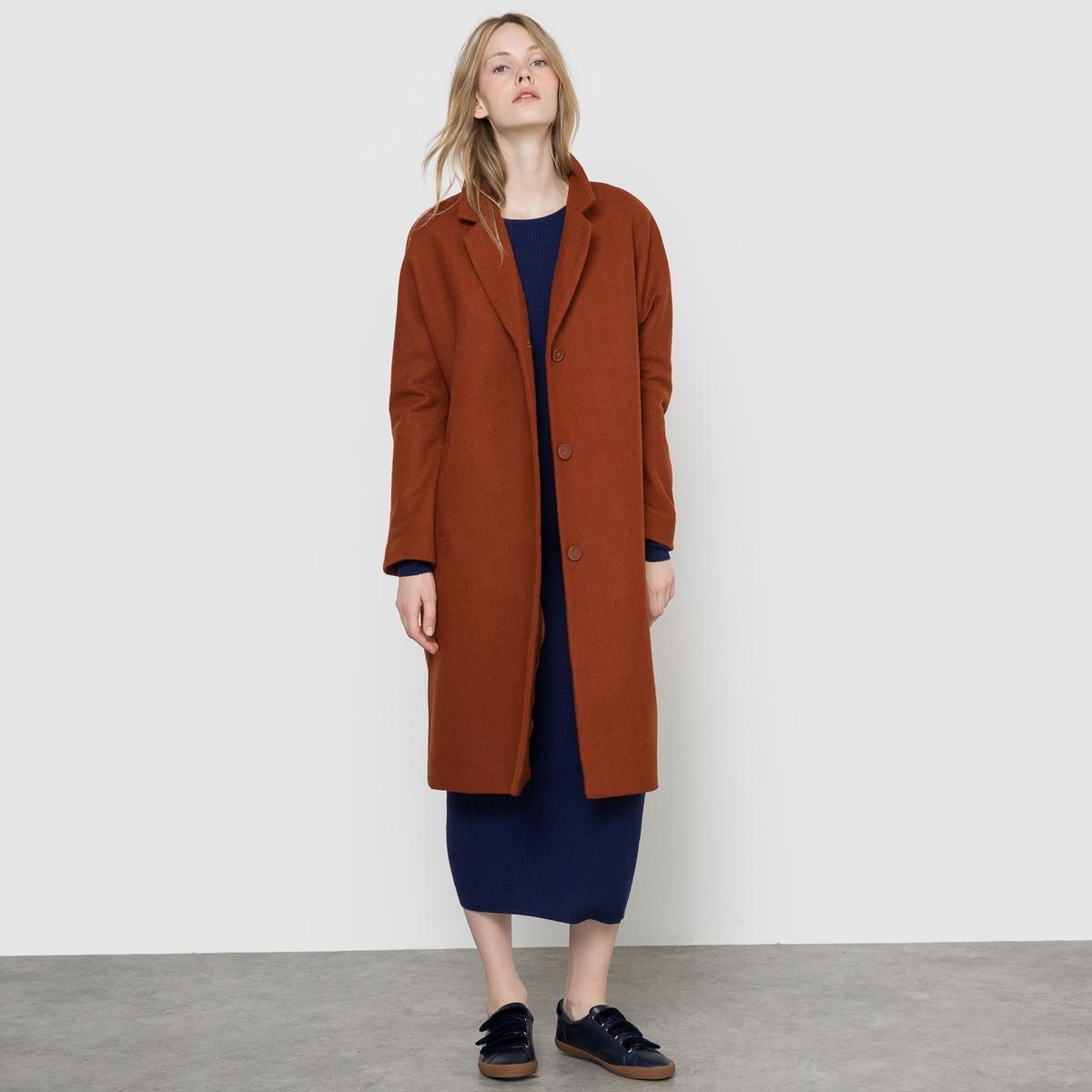 Пальто покроя оверсайзДлинное пальто из шерстяного драпа. Для большого размера. Приспущенные проймы. Карманы по бокам. Застежка на пуговицы.Состав и описание:Материал: драп 40% шерсти, 40% полиэстера, 15% акрила,                        5% других волокон.Подкладка: 100% полиэстера.Длина: 104 смМарка: R essentiel.   Уход:Стирка запрещена.Только сухая чистка.<br><br>Цвет: каштановый<br>Размер: 48 (FR) - 54 (RUS).50 (FR) - 56 (RUS)