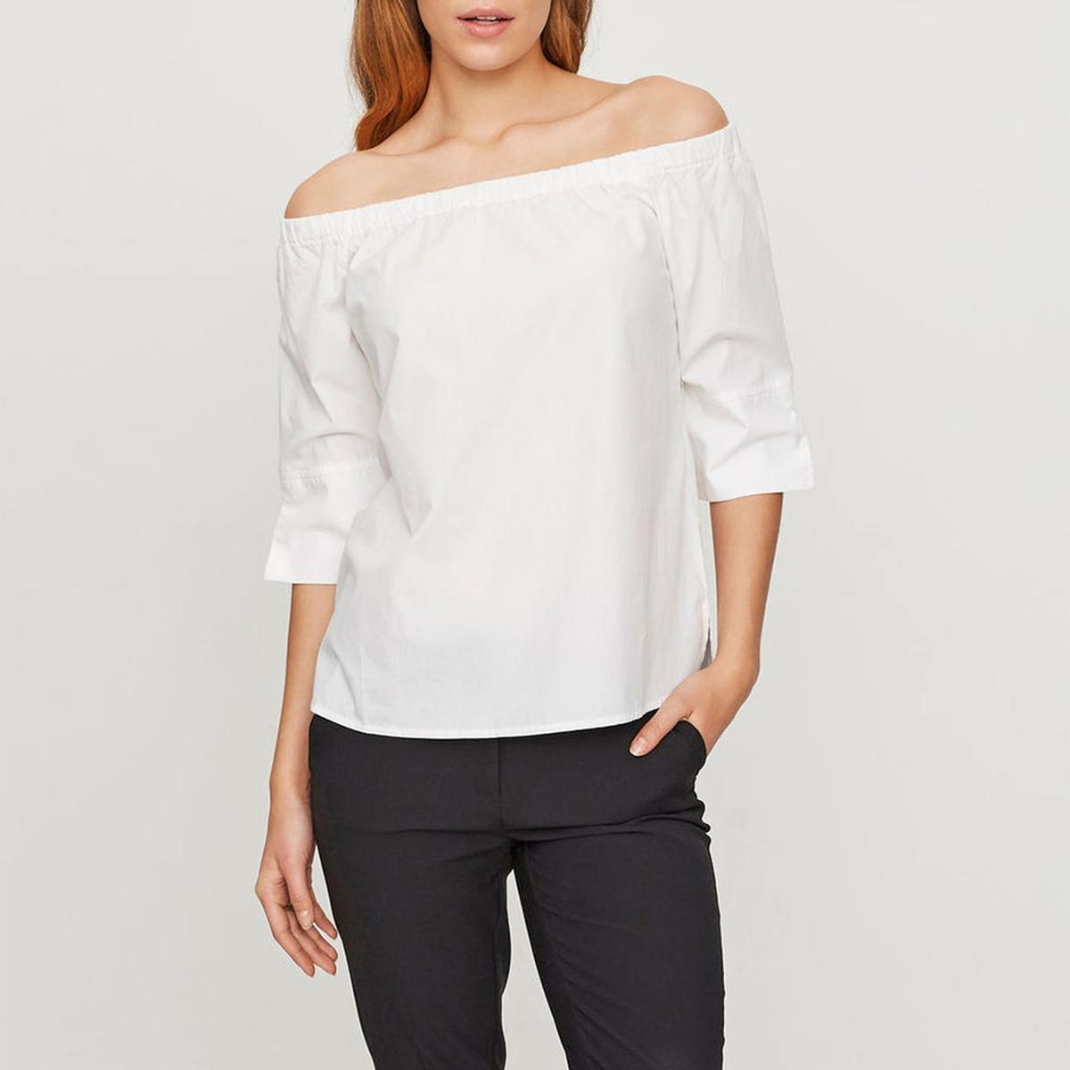 Блузка из хлопкаМатериал : 100% хлопок   Длина рукава : рукава 3/4 Форма воротника : без воротника Длина блузки: стандартная  Рисунок : однотонная модель<br><br>Цвет: белый