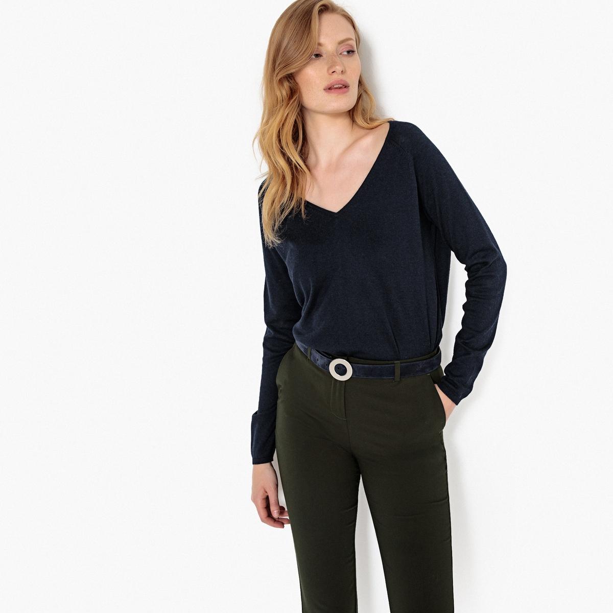 Пуловер базовый с V-образным вырезом, форма футляра