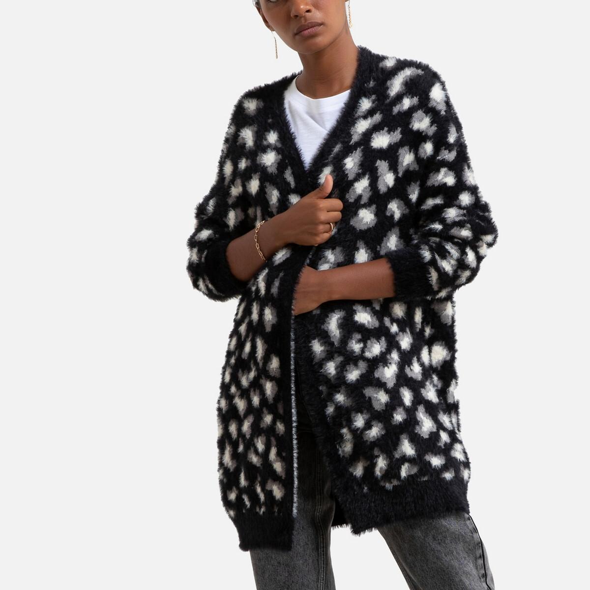 Кардиган La Redoute Средней длины леопардовый принт XS/S черный