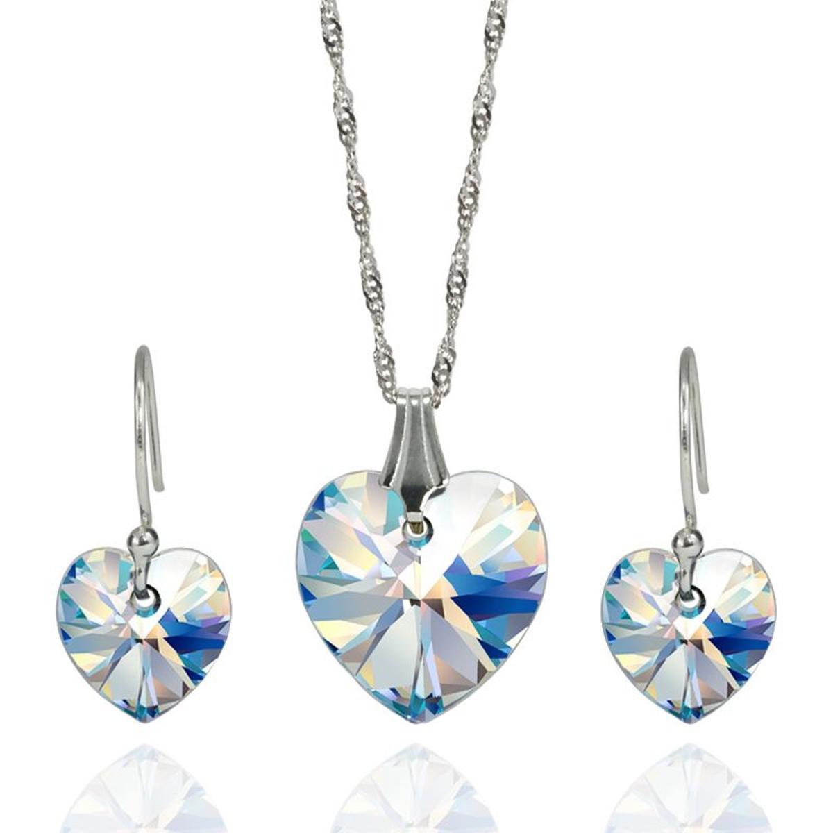 Parure cristal et argent 925 COEUR ROMANCE made in France