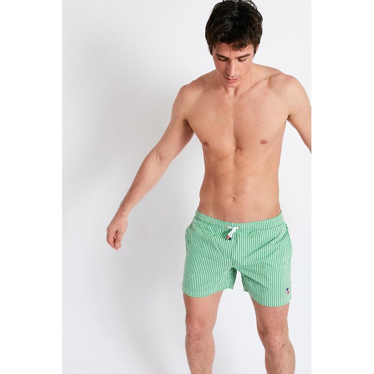 Short de Bain à Rayures - Vert et Blanc
