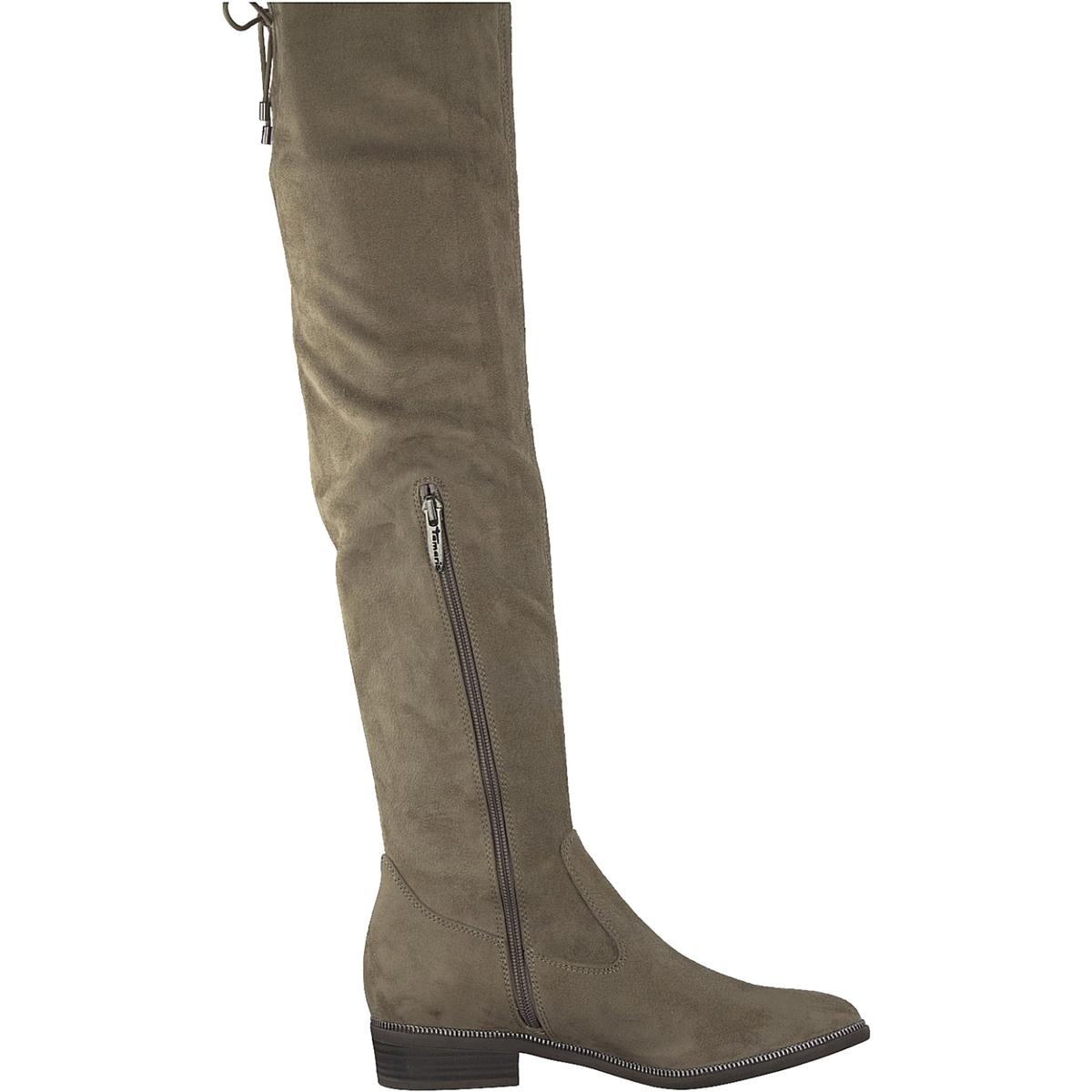 Сапоги-ботфорты PhanieДетали •  Ботфорты •  Широкий каблук •  Круглый мысок •  Застежка : на молнию •  Высота голенища : 53 см для размера 37 •  Высота каблука : 2,5 смСостав и уход •  Верх 100% текстиль •  Подкладка 50% синтетического материала, 50% текстиля •  Стелька 100% текстиль<br><br>Цвет: серо-коричневый,черный<br>Размер: 36.39.42.38