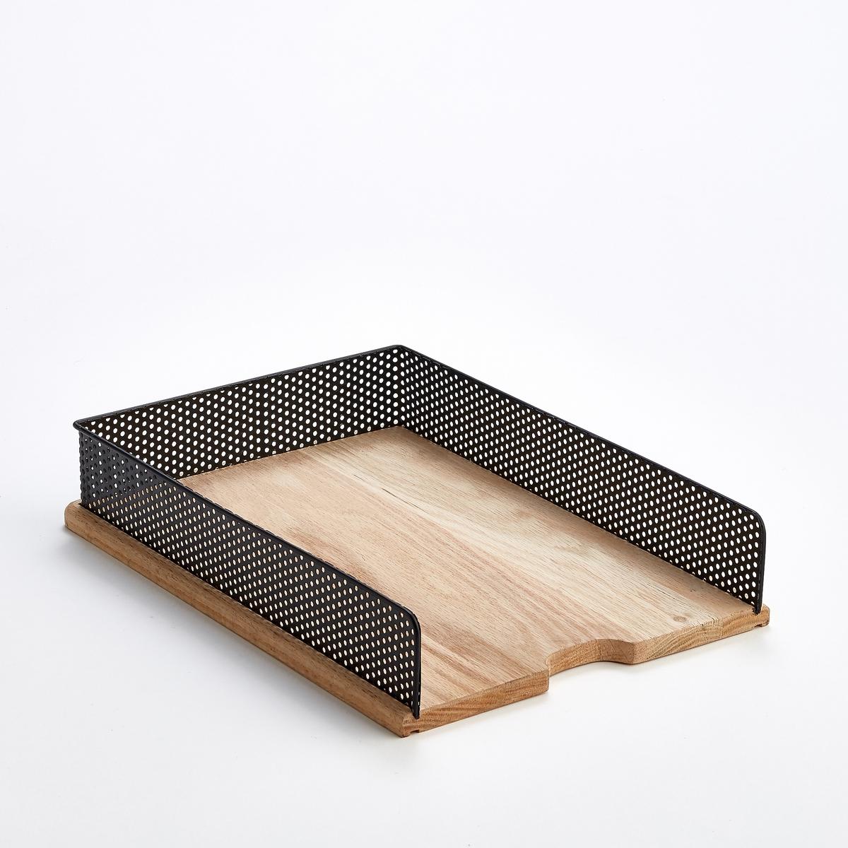 Подставка горизонтальная для писем, OrdonatoХарактеристики :- Основание и стенки из дуба - Корзина из ажурного металлаРазмеры  :- Ш.36 x В.6 x Г.26 cm Всю коллекцию Ordonato для хранения вещей на письменном столе вы можете найти на сайте sur ampm.ru<br><br>Цвет: металл черный/дуб<br>Размер: единый размер