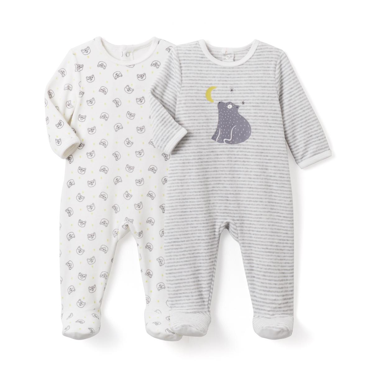 2 пижамы из велюра с рисунком, 0 мес.- 3 лет