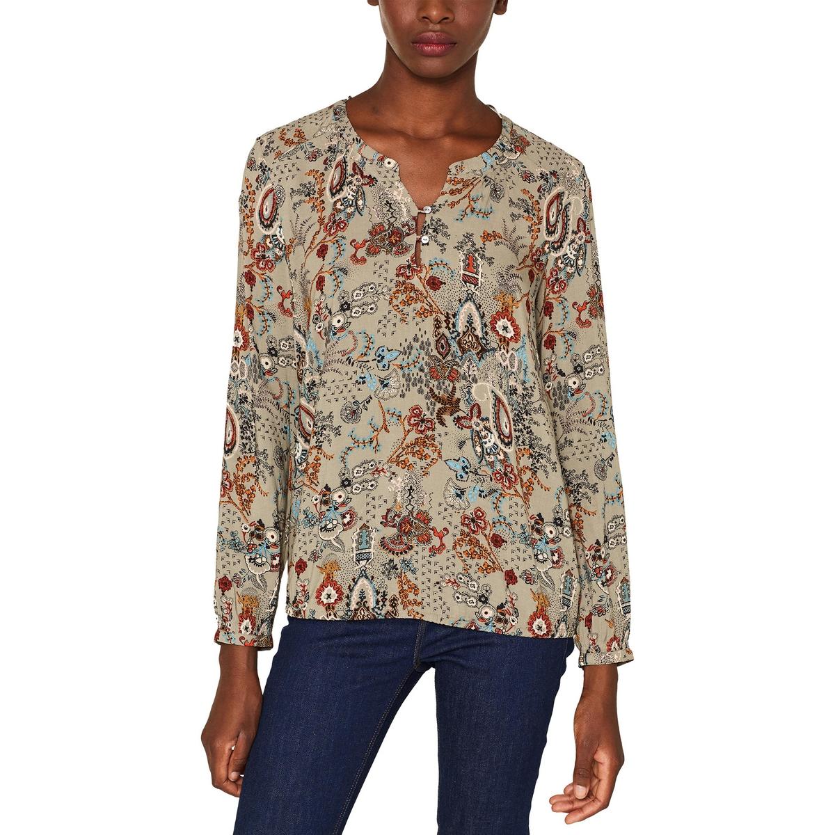 Blusa estampada con cuello tunecino de manga larga