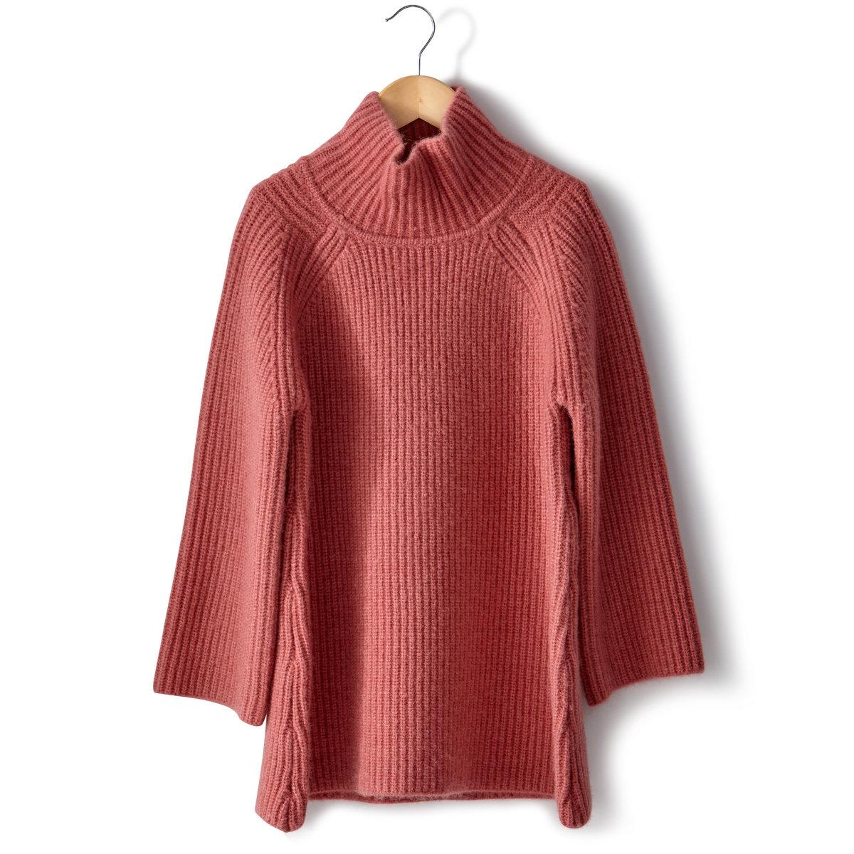 Пуловер с высоким воротникомПуловер из трикотажа, 54% полиэстера, 41% акрила, 5% шерсти. Высокий воротник. Рукава 3/4. Длина 63 см.<br><br>Цвет: розовый