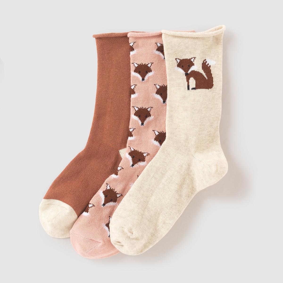 3 пары носков с рисунком лисы
