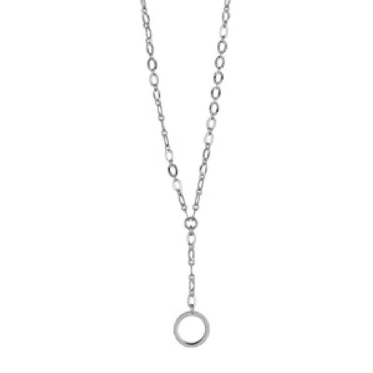 Collier 42 cm Forme Y - Cercle Anneau Argent 925