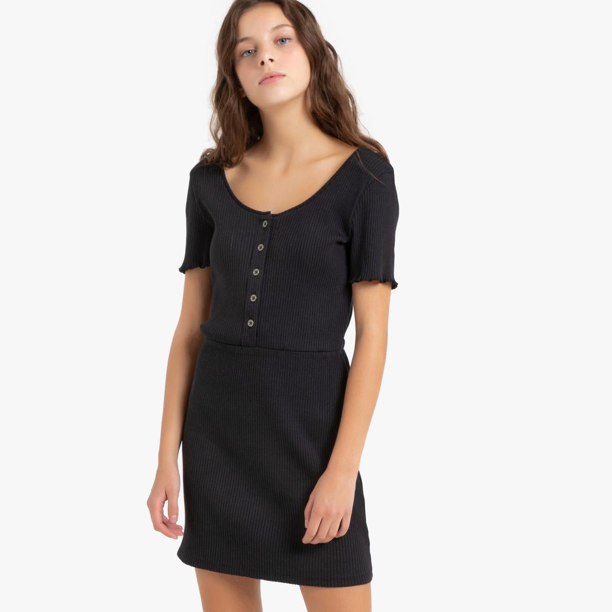 Платье La Redoute Приталенное с короткими рукавами 10 лет - 138 см черный