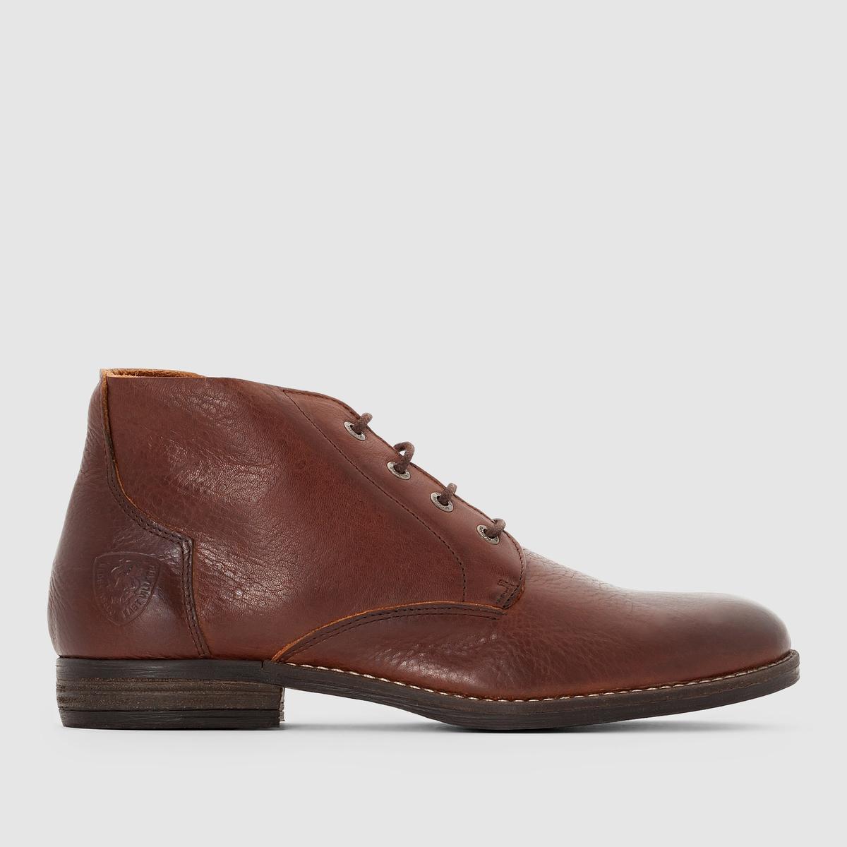 Ботильоны TALSIВерх/Голенище : Яловичная кожа          Подкладка : без подкладки  Стелька : Кожа     Подошва : каучук.     Форма каблука : Плоский каблук     Носок : Закругленный.      Застежка : шнуровка.<br><br>Цвет: коньячный<br>Размер: 45.44