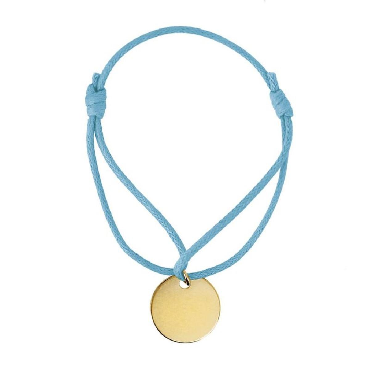 Bracelet Cordon Bleu Clair Longueur réglable Médaille Ronde Plaqué Or