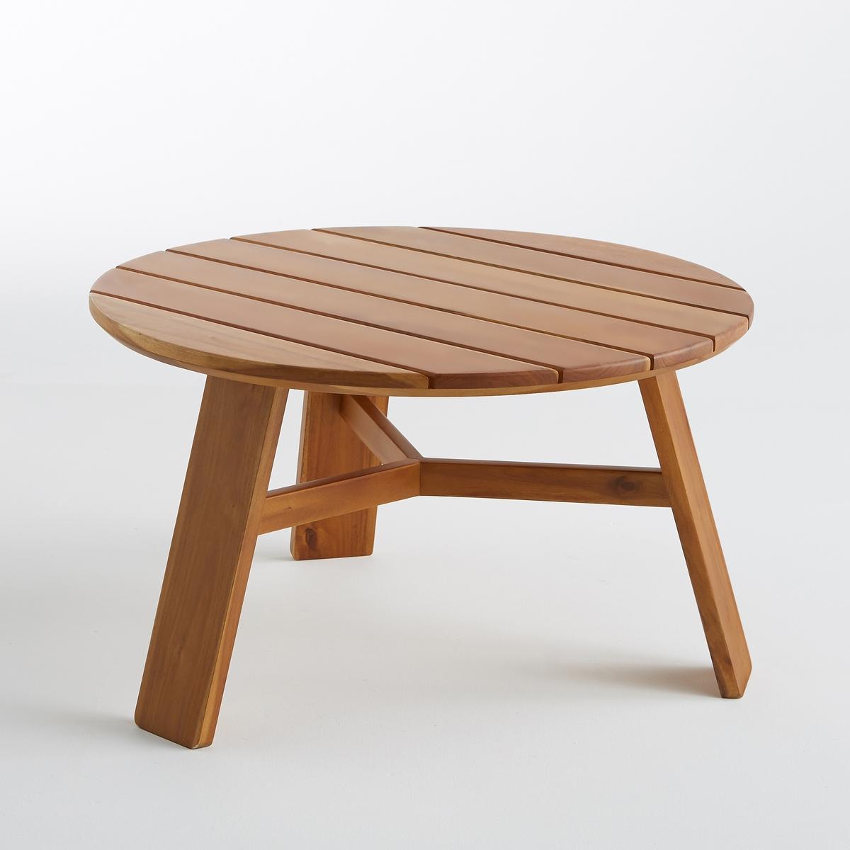 Столик журнальный для сада AlestraХарактеристики : - Из акации, окрашенной под тик, покрытие олифой- Столешница из реек- 3 ножкиРазмеры  :- диаметр 70 x высота 40 см<br><br>Цвет: темно-синий