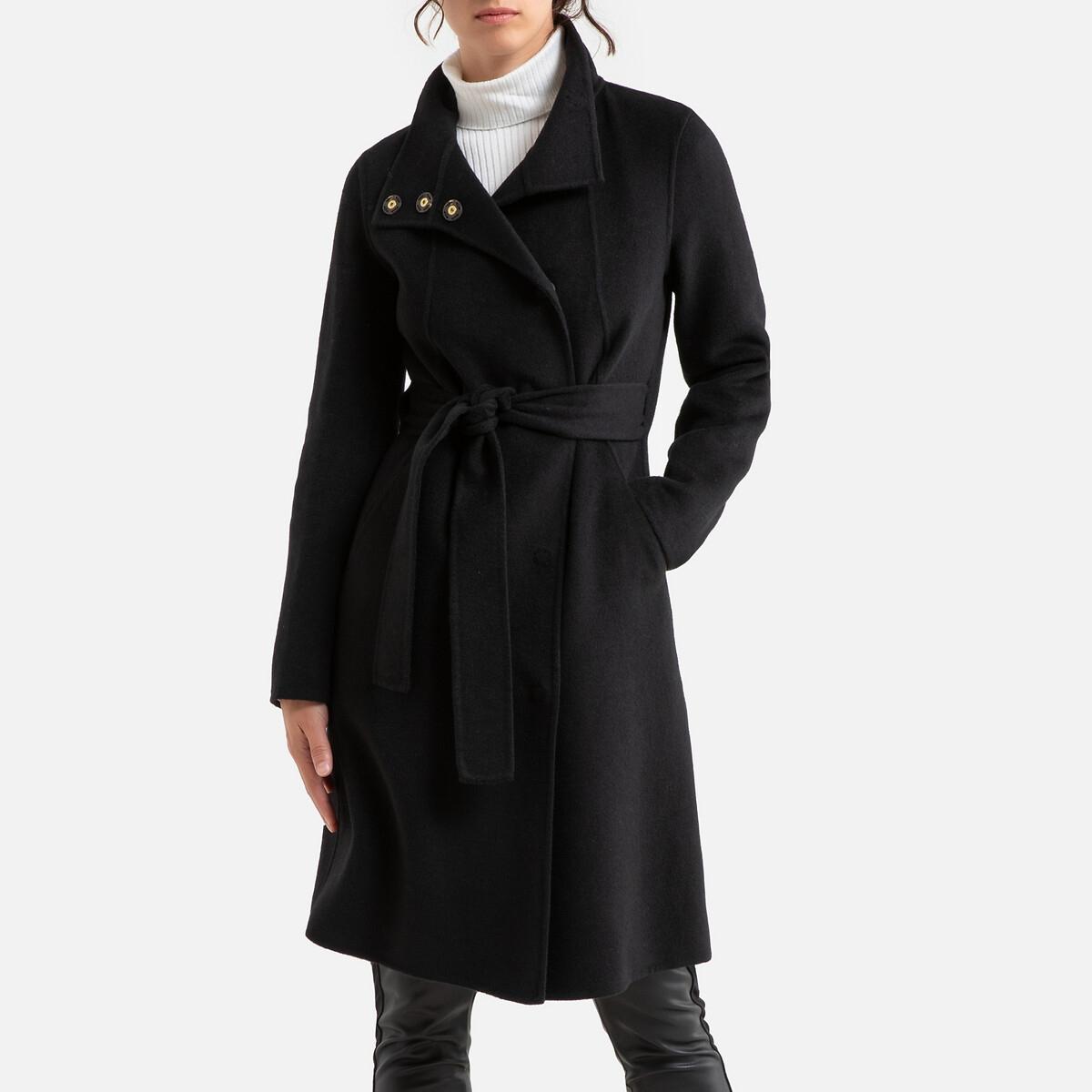 Manteau mi-long à col montant et ceinture