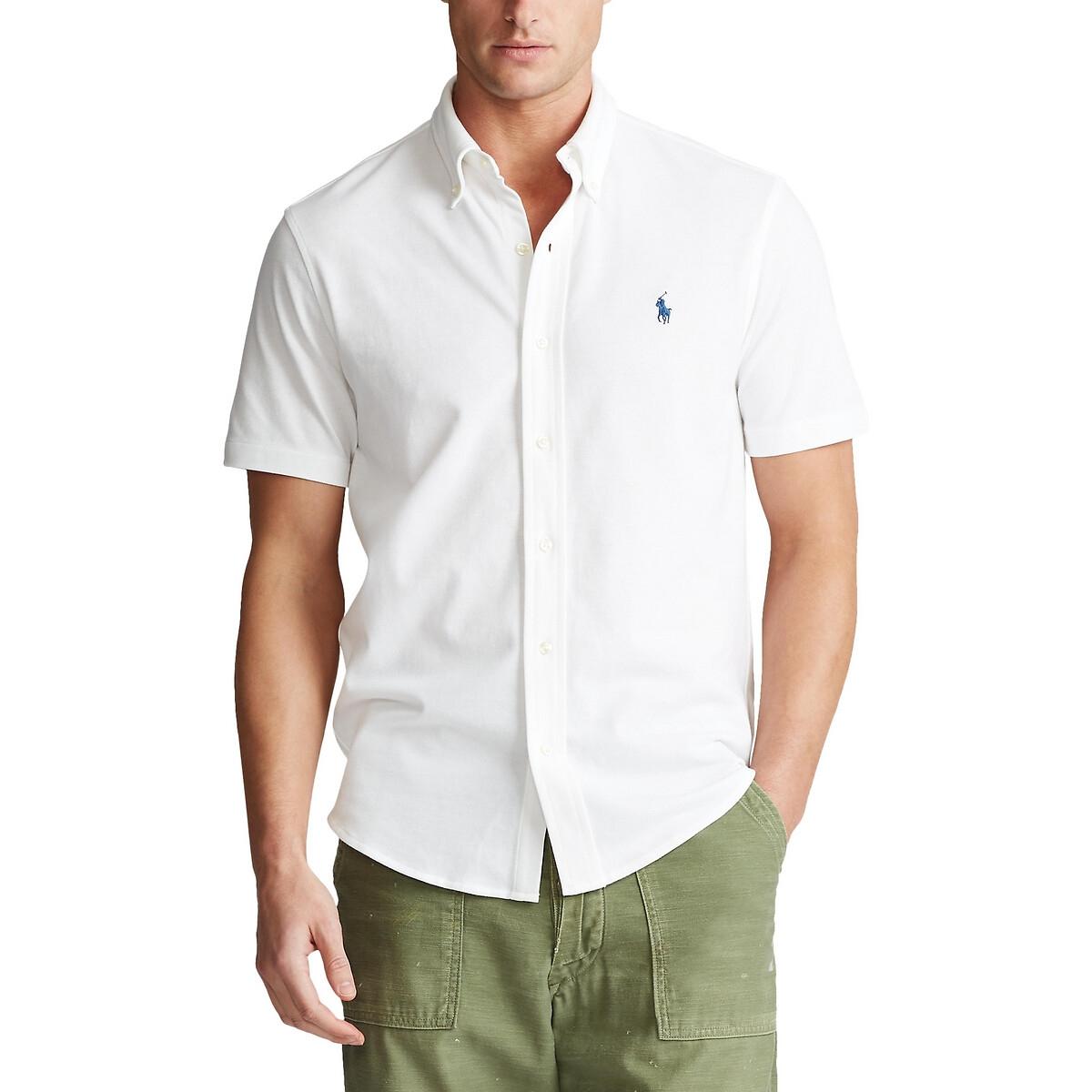 Рубашка LaRedoute Прямого покроя из хлопчатобумажной ткани пике M белый