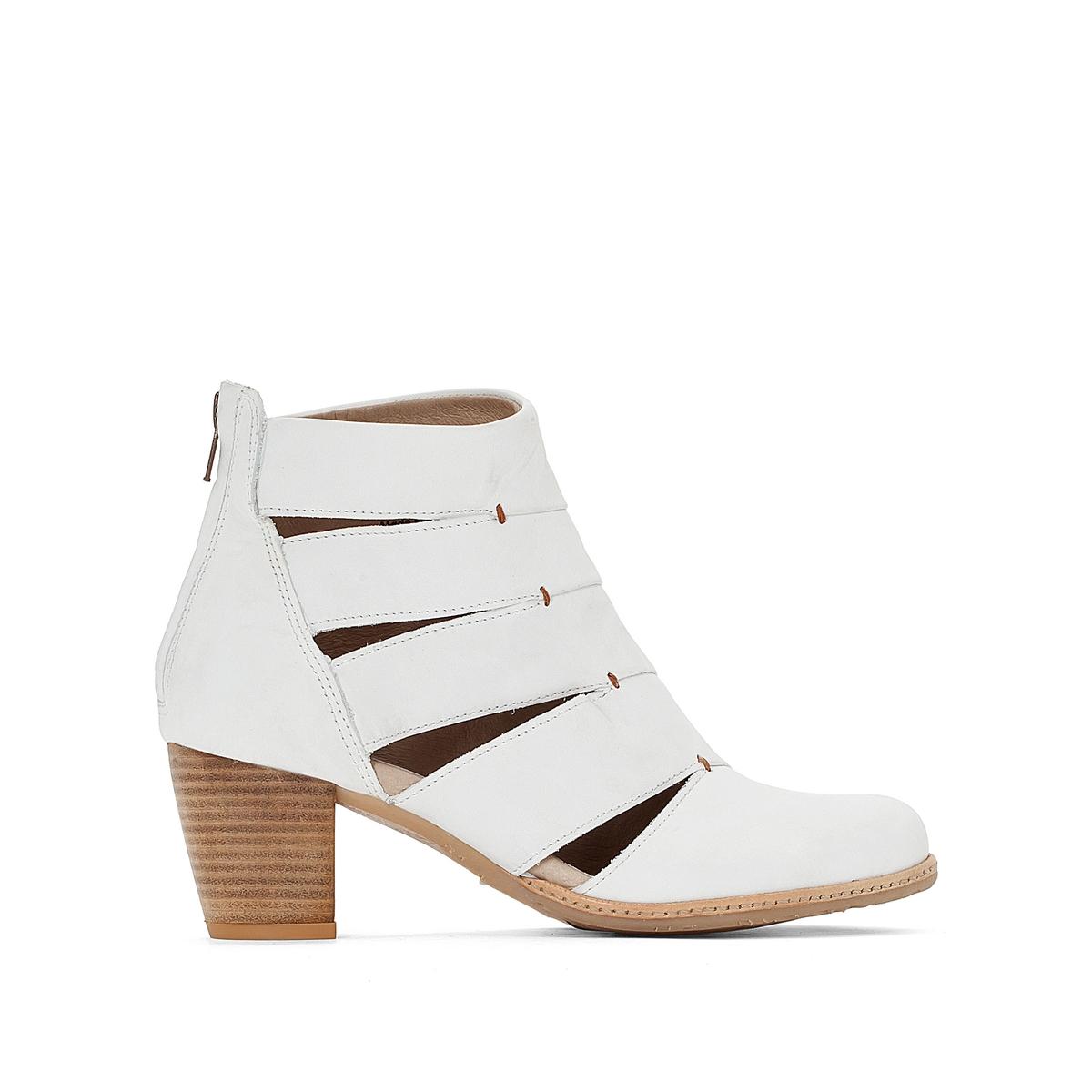 Ботинки кожаные VayleВерх/Голенище : кожа.        Подкладка : кожа.        Стелька : кожа.        Подошва : Каучук        Высота каблука : 5 см        Форма каблука :  широкий каблук        Мысок : закругленный        Застежка : молния<br><br>Цвет: белый<br>Размер: 39.38.37
