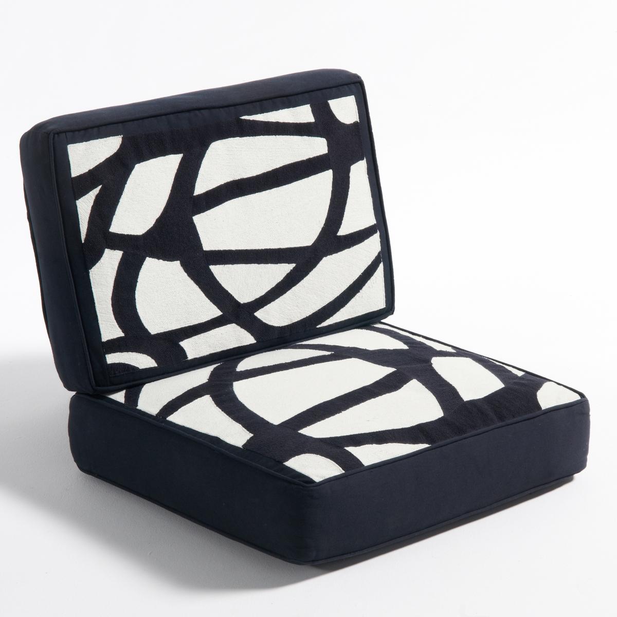 Подушка из хлопка для кресла DilmaLa Redoute<br>Подушки для кресла Dilma.Сочетается с каркасом Dilma для создания удобного и простого в уходе кресла.Материал : - Чехол: полотно из хлопка- Наполнитель : полиэфирный пеноматериал 40 кг/м?, покрытие волокнами полиэстера. - Система крепления.- Чехлы подушек съемные Размеры :- Подушка для сиденья : Ш60 x В15 x Г58 см- Подушка под спину :  Ш58 x В10 x Г38 см<br><br>Цвет: экрю/черный