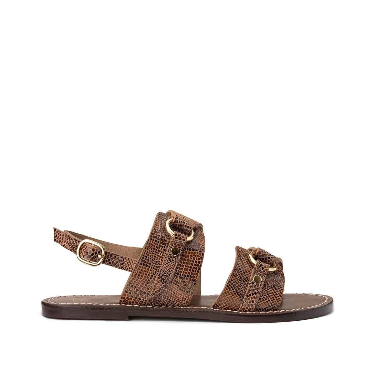 Сандалии LaRedoute Из кожи с питоновым принтом 39 каштановый ботинки laredoute из кожи на широком каблуке с питоновым принтом 39 бежевый