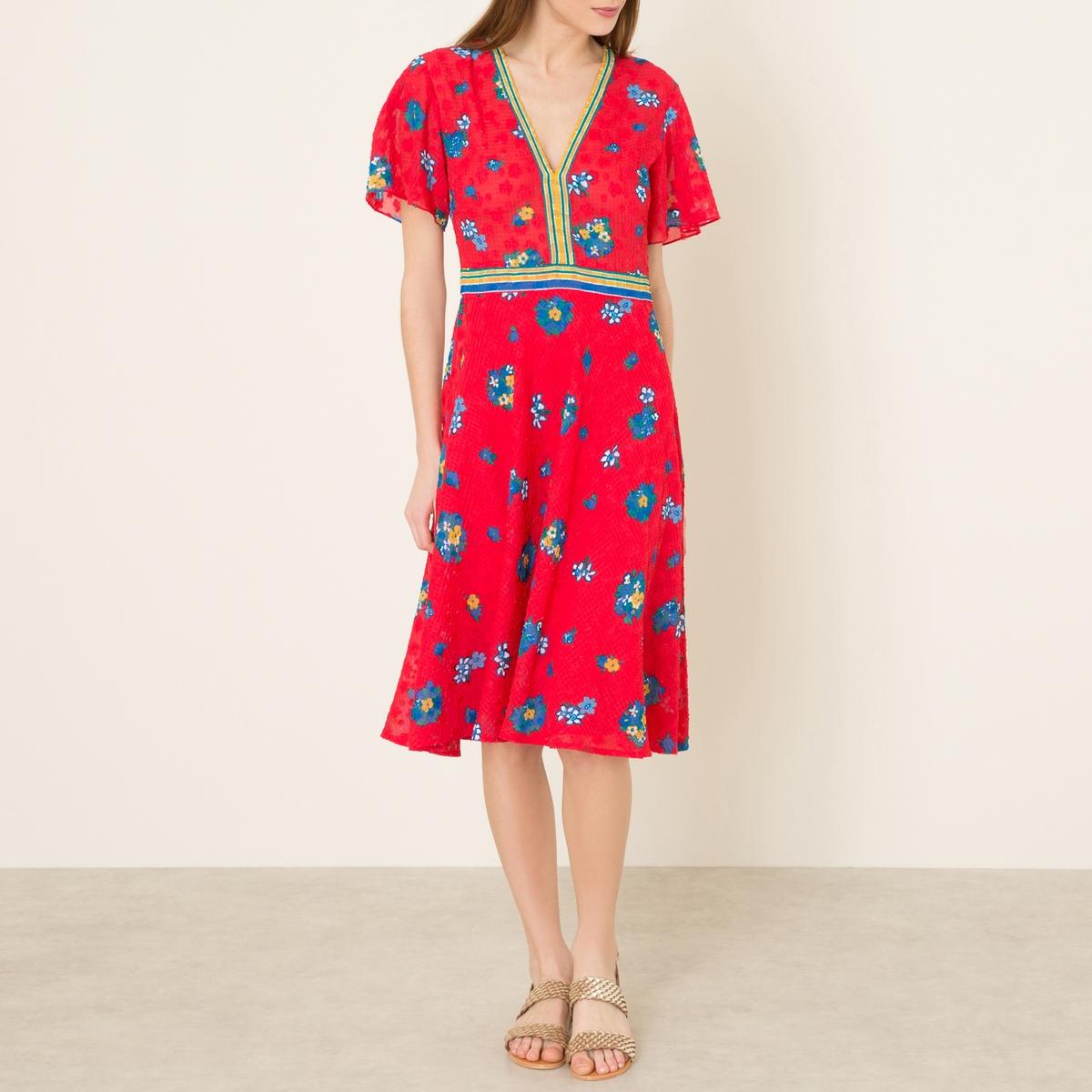 Платье PRUNEПлатье BA&amp;SH - модель PRUNE из вуали с цветочным принтом . V-образный вырез. Короткие рукава с воланами. Контрастные вставки в полоску . Длина до колена. Состав и описание    Материал : 100% полиэстер   Марка : BA&amp;SH<br><br>Цвет: красный