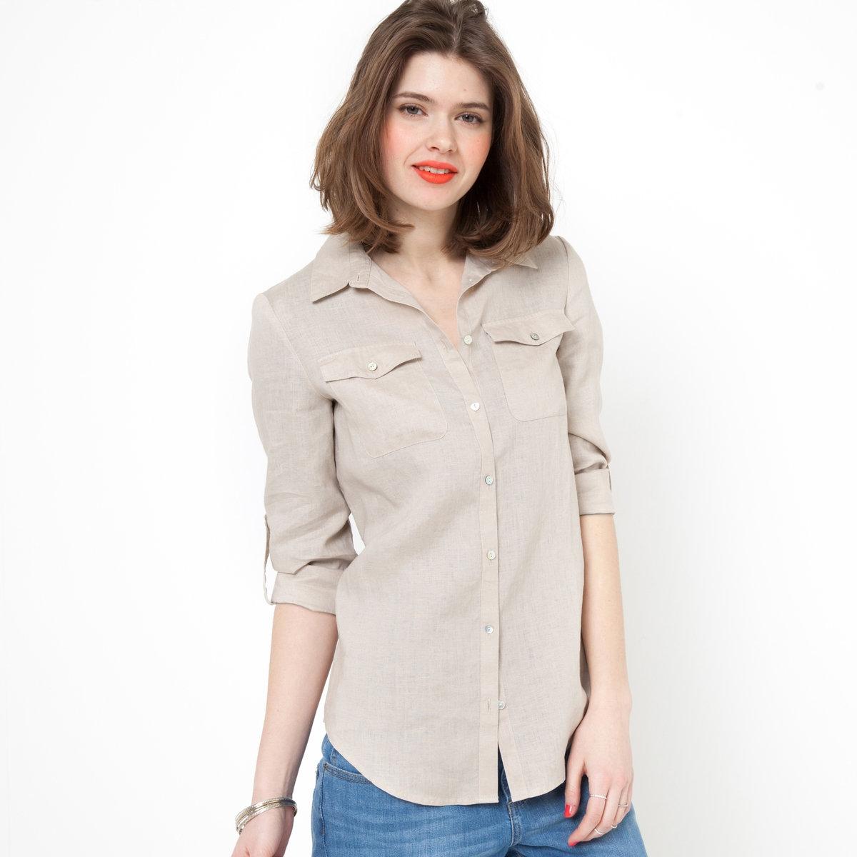 Рубашка с длинными рукавами, 100% ленРубашка из 100% льна. Длинные рукава можно отворачивать. Низ рукавов с пуговицами. Накладные карманы с клапанами на пуговицах. Закругленный низ. Длина ок.67 см.<br><br>Цвет: серо-бежевый<br>Размер: 46 (FR) - 52 (RUS)