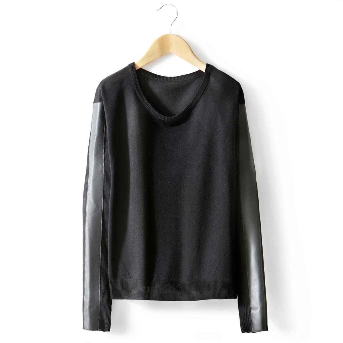 Пуловер с круглым вырезом и длинными рукавами