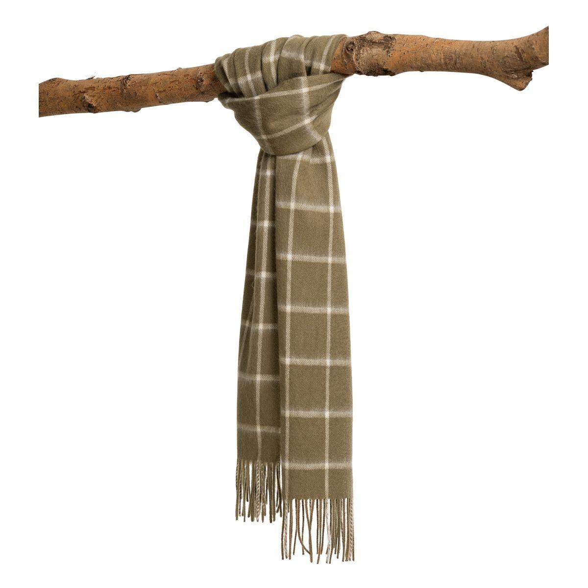 Écharpe à motif quadrillage pure laine