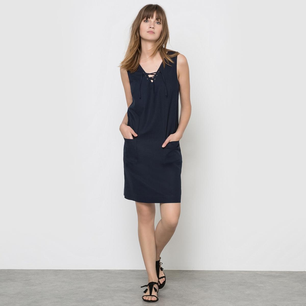 Платье из льна/хлопкаПлатье без рукавов 55% льна, 45% хлопка .  Платье  V-образный воротник со шнуровкой 2 накладных кармана спереди Длина 90 см .<br><br>Цвет: зеленый хаки,розовый фуксия,синий морской,черный<br>Размер: 40 (FR) - 46 (RUS).42 (FR) - 48 (RUS)