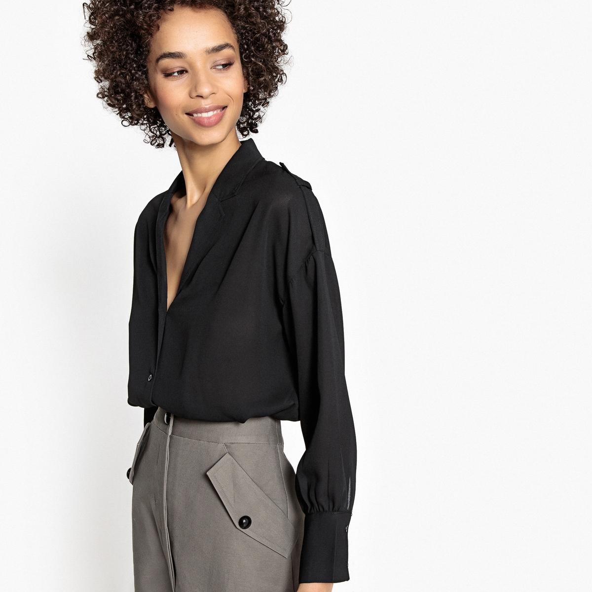 Рубашка однотонная с длинными рукавами и пиджачным воротником