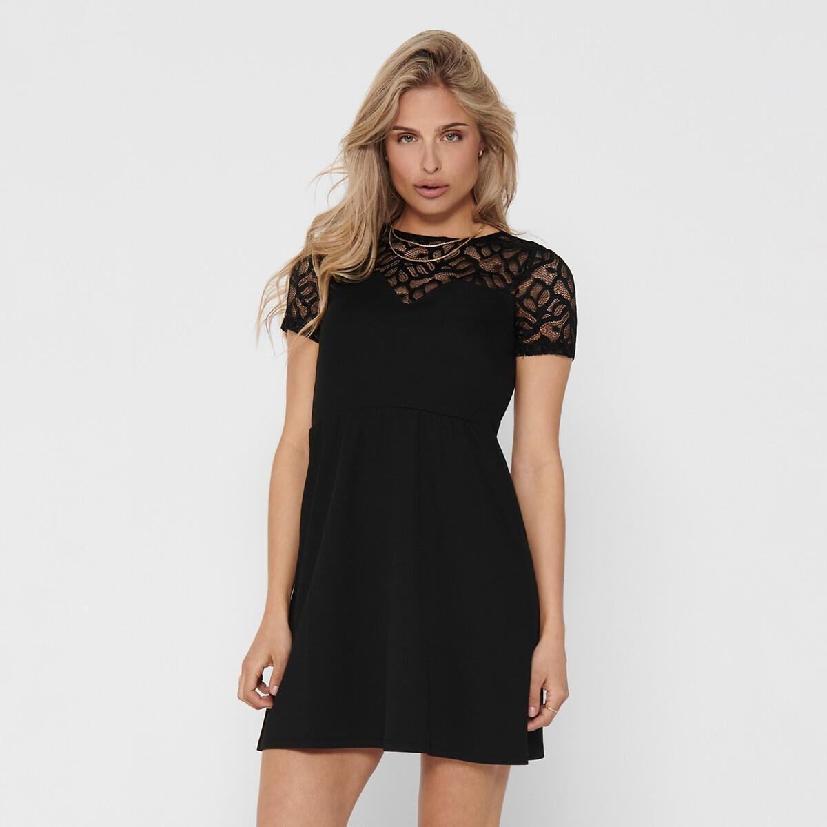 Платье La Redoute — С эффектом бюстье вставка из кружева XS черный