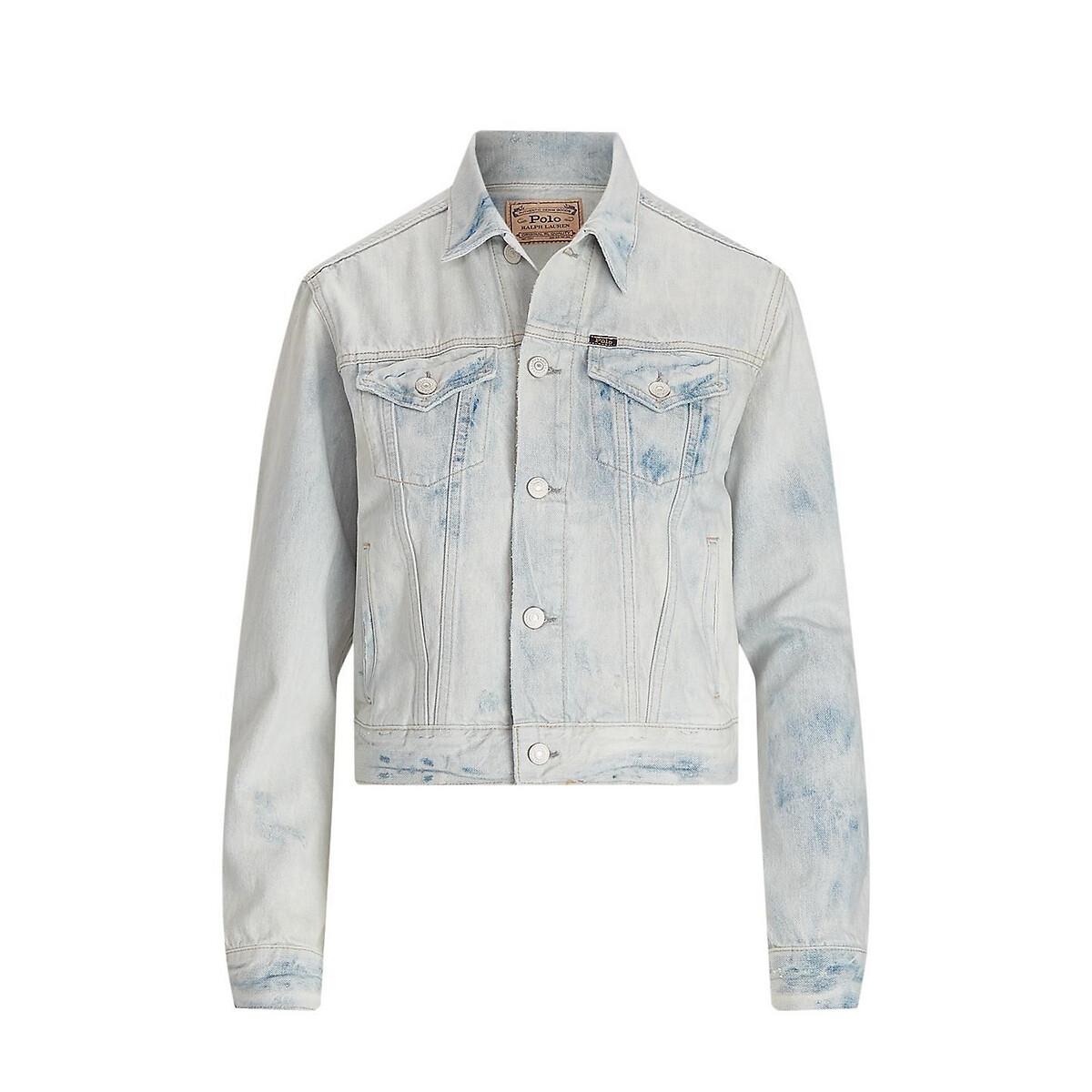 Жакет La Redoute Прямой джинсовый с эффектом делаве S синий бермуды la redoute из джинсовой ткани jjirrick jjicon s синий