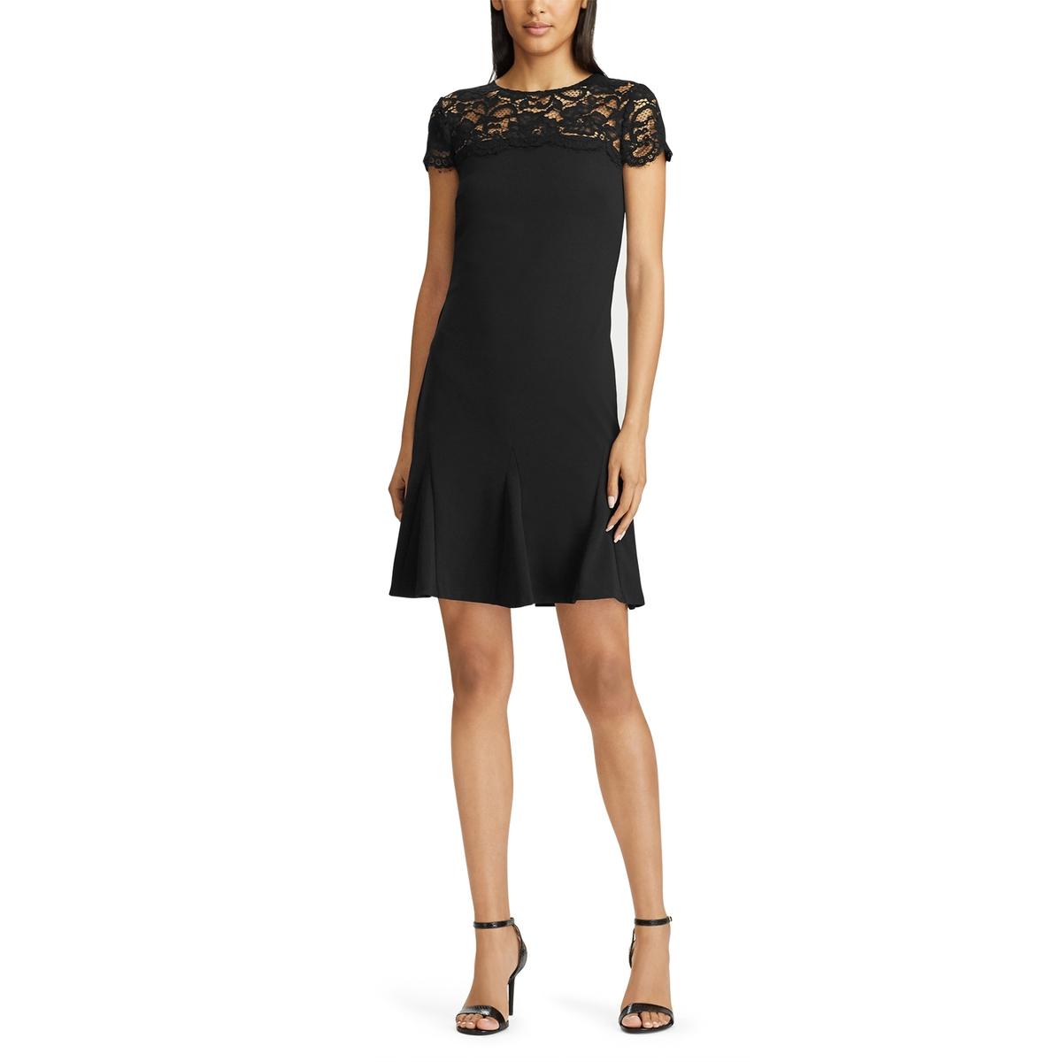Платье La Redoute Расклешенное с короткими рукавами с гипюром 42 (FR) - 48 (RUS) черный платье la redoute расклешенное с короткими рукавами с гипюром 42 fr 48 rus черный
