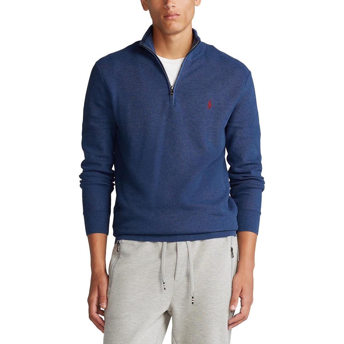 Пуловер La Redoute С воротником-стойкой на молнии из хлопковой ткани Pima XL синий блузон la redoute с воротником стойкой и застежкой на пуговицы xl синий
