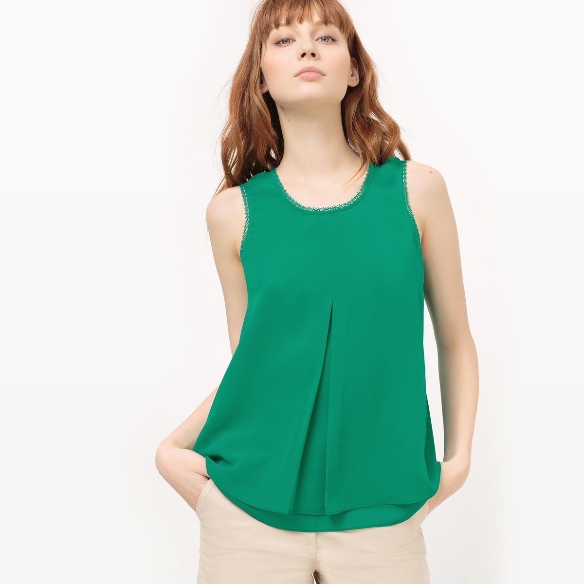 Блузка легкая без рукавовМатериал : 100% полиэстер   Длина рукава : Без рукавов Форма воротника : Круглый вырез Длина блузки : стандартная  Рисунок : однотонная модель<br><br>Цвет: зеленый