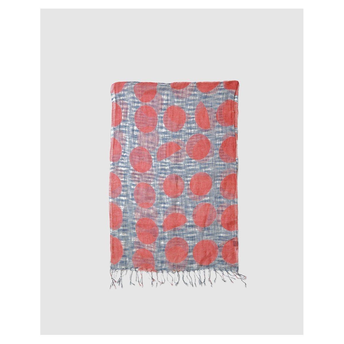 Foulard en lin bleu à motif