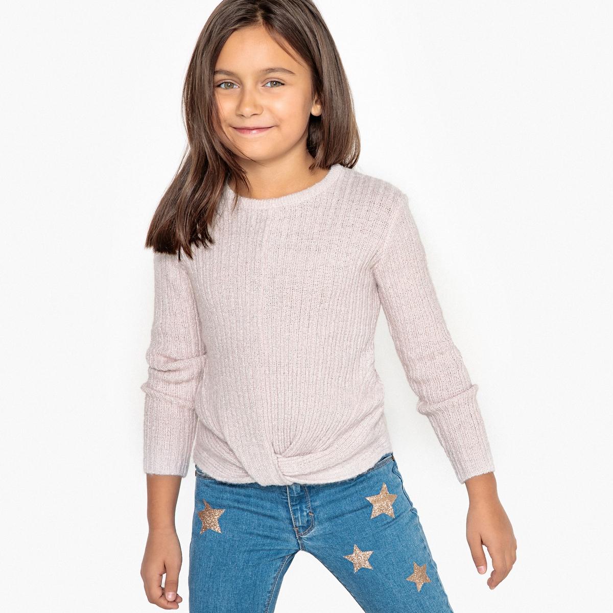 Пуловер La Redoute Из блестящего трикотажа с аппликацией спереди 3 года - 94 см розовый пуловер из блестящего трикотажа 3 12 лет